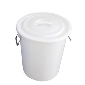 滋仁 圓形帶蓋垃圾桶水桶,100L 鐵柄 白色 LT-025 單位:個