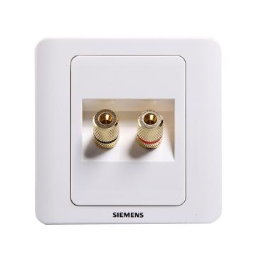 西门子SIEMENS 远景系列双接线柱音响插座,5TG01171CC1 雅白