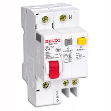 德力西DELIXI 微型剩余电流保护断路器 DZ47sLE 2P 16A C型 75mA AC DZ47SLEN2C16R75