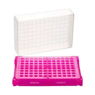 亚速旺PCR支架T328-96 粉红色 1盒(主体·盖子20个)