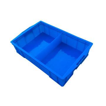 西域推薦 二分隔周轉箱,外尺寸:585×380×138mm,內格尺寸:260×350×108mm,藍色