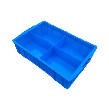 西域推薦 四分隔周轉箱,外尺寸:585×380×138mm,內格尺寸:260×172×108mm,藍色