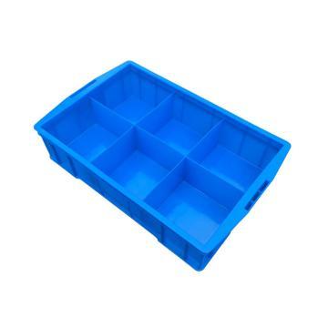 西域推薦 六分隔周轉箱,外尺寸:585×380×138mm,內格尺寸:172×172×108mm,藍色