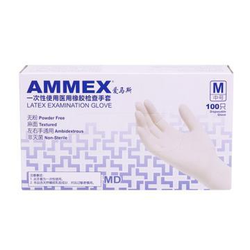 愛馬斯AMMEX 無粉一次性手套,TLFCMD46100,橡膠材質 (耐用型 無粉掌麻L,100只/盒 10盒/箱