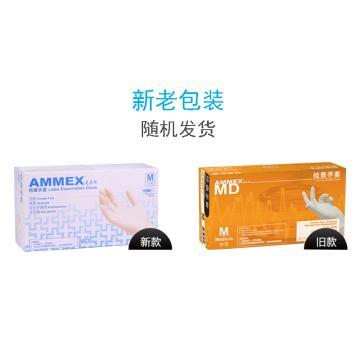 爱马斯AMMEX 无粉一次性手套,TLFCMDi44100,橡胶材质 (耐用型 无粉掌麻M,100只/盒 10盒/箱