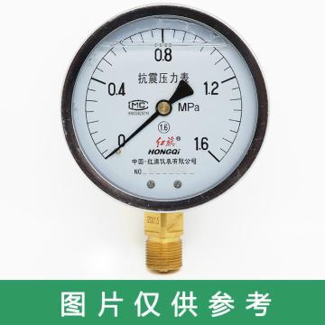 紅旗 耐震壓力表,YTN-100 碳鋼+銅 徑向不帶邊 M20×1.5 0~0.6MPa