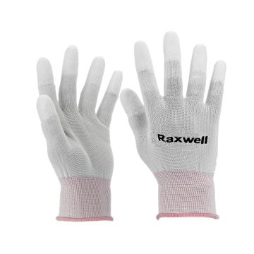 Raxwell 尼龍針織PU工作手套(指浸),13針,L碼,RW2446,10副/包