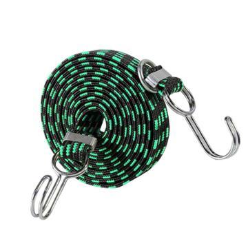 安赛瑞 多用途弹力绳捆绑绳,3cm×2m,绿黑(条),25077