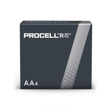 Procell致芯堿性電池,5號,AA,高性能,4粒/盒