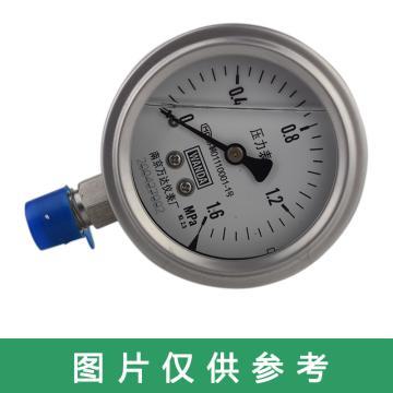 萬達/WANDA 耐震壓力表YJF-FN,不銹鋼+不銹鋼,徑向不帶邊Φ60,精度2.5級,0~16MPa,G1/4,充硅油