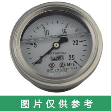 萬達 耐震壓力表,YJF-FN,不銹鋼+不銹鋼,軸向不帶邊Φ100,精度1.6級,0~25MPa,G1/2,充硅油