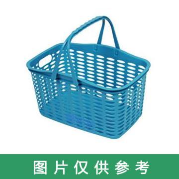 西域推荐 塑料手提篮,33*22*19cm,红绿蓝三色随机发货,售完即止