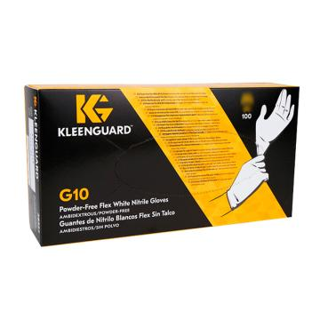 金佰利 无粉一次性手套,38526-L,G10白色超柔丁腈手套,100只/盒 10盒/箱