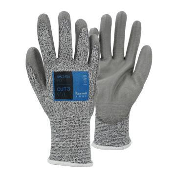 Raxwell HPPE 3級防切割手套,PU涂層,13針,9/L,1副/袋