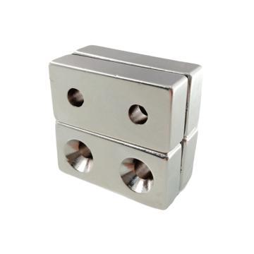 雄楚 釹鐵硼強磁方形,40mm×20mm×10mm-5雙孔5mm,材料牌號N35,磁力2300GS