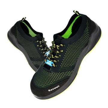Raxwell 夏季透气型安全鞋,飞织帮面,防砸,防静电,RX-42绿黑,RW3621