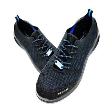 Raxwell 夏季透气型安全鞋,飞织帮面,防砸,防刺穿,防静电,RX-41蓝黑,RW3607