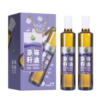 禾煜 一級壓榨亞麻籽油禮盒,1000ml 雙瓶裝