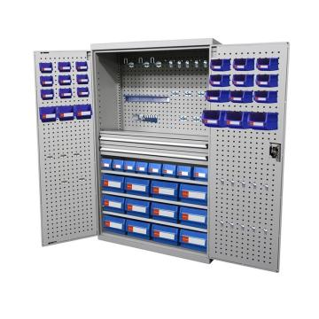 Raxwell 灰色掛板型置物柜(四層板雙抽),尺寸(長*寬*高mm):1000*600*1800 含零件盒和掛鉤