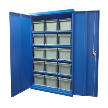 Raxwell 藍色置物柜(四層板),尺寸(長*寬*高mm):1000*500*1800 含零件盒和周轉箱