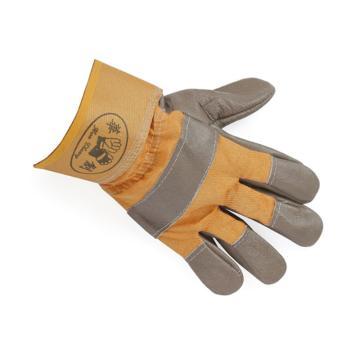 華創 半皮手套,短款,黃色