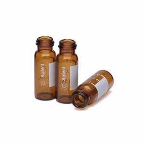 已认证的广口螺纹盖样品瓶,琥珀色,2ml,带书写签,100/包