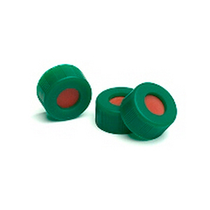 已认证的绿色螺口盖,含PTFE/红色硅橡胶隔垫,100/包