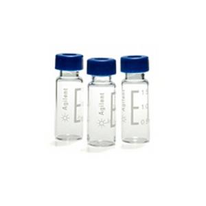 经认证的2毫升螺纹口样品瓶包, 透明样品瓶,蓝色瓶盖和PTFE/红色硅橡胶隔垫, 100/包