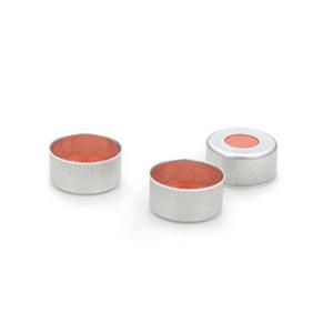 已认证的银白色铝质钳口盖11 mm,透明PTFE/红色橡胶隔垫,100/包