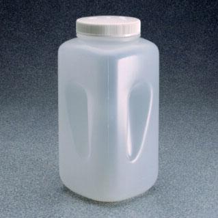 NALGENE大广口方形瓶,聚丙烯;白色聚丙烯螺旋盖,4L容量