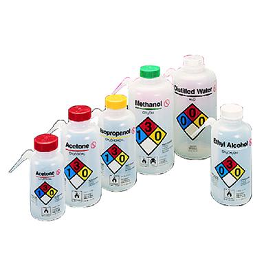 NALGENE可通气UnitaryTM安全洗瓶,LDPE瓶体;PP或HDPE盖,PTFE滤膜,250ml容量,蒸馏水,天然瓶盖