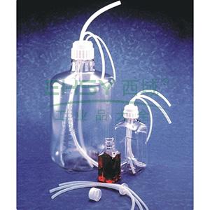 "NALGENE用于NALGENE瓶和细口大瓶(带螺旋盖)的Flexible Top WorksTMSystems,聚丙烯盖,白金硅胶衬垫,NALGENE盖尺寸53B,3端口, 1X 3/8 2X 1/4""ID"