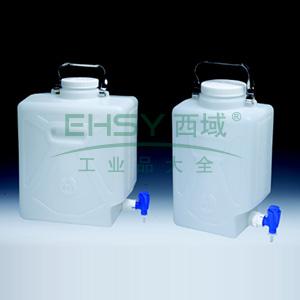 NALGENE矩形细口大瓶(带放水口),高密度聚乙烯,聚丙烯放水口和螺旋盖,9L容量