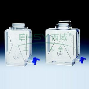 NALGENE矩形细口大瓶(带放水口),聚碳酸酯;聚丙烯放水口和螺旋盖,9L容量