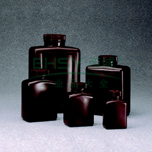 NALGENE琥珀色矩形瓶,琥珀色高密度聚乙烯,125ml容量
