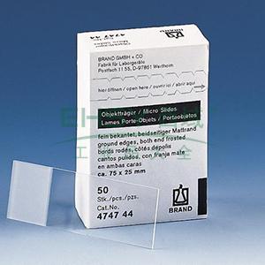 BRAND显微镜玻片,白色/透明,磨砂边缘(磨砂),标准包装,2500个/箱