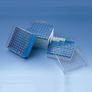 BRAND储存盒,PC材质,可以放置81个规格为3ml、4ml、5ml的细胞冻存管,外螺纹式,5个/包