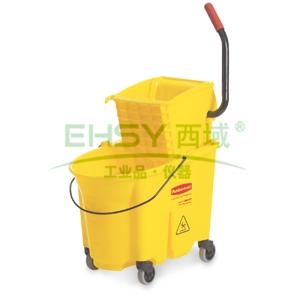 乐柏美WaveBrake 防溢侧压式拖把压水桶组合,黄色