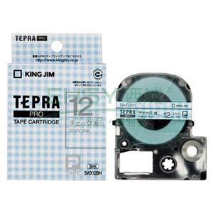 锦宫图案标签,黑字蓝色方格底18mm×8m每卷 SWX18BH