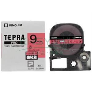 锦宫标签,强粘性 ,黑字红底9mm×8m每卷 SC9RW
