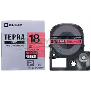 锦宫标签,强粘性 ,黑字红底18mm×8m每卷 SC18RW