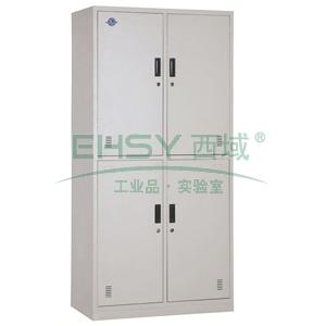 西域推荐 上下四门更衣柜,900宽*500深*1850高,灰白色,钢板厚度为0.8mm