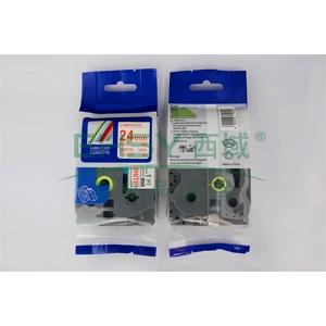 标签色带,白底红字TZ2-252宽度24mm 适用于兄弟TZ系列标签机