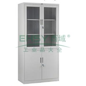 上玻下铁开门柜-2,800宽*400深*1840高,灰白色,0.7mm厚度