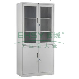 上玻下铁开门柜-2,900宽*450深*1840高,灰白色,0.7mm厚度