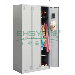 三门更衣柜,900宽*500深*1800高,灰白色,0.7mm厚度