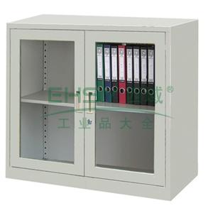玻璃开门柜,900宽*400深*740高,图片色,0.7mm厚度