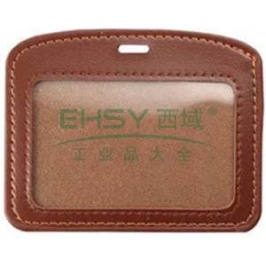 得力808横式皮质证件卡,棕色  5930