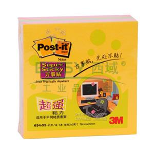 3M Post-it®便条纸,654-5S 荧光系列 三色混装 3X3 45页/本×5本 办公装
