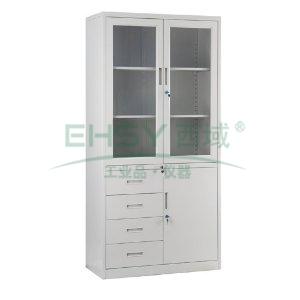 玻璃开门四斗单门柜, 1840×900×400mm,仅限上海地区